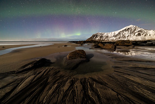 skagsanden beach on night - flackstad norway