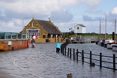 (a-07748) Tide's in! (Clixworker) Tags: uk bicycle norfolk quay wading hightide quayside wellsnextthesea harbouroffice