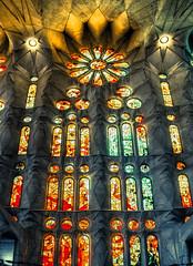 Sagrada Familia Stained glass HDR (john.purvis) Tags: barcelona church bcn gaudi sagradafamilia hdr