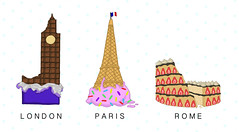 Yummy Landmarks (jodiorodeo) Tags: uk england italy paris france rome cute london tower art clock ice cake illustration bar postre big italian torre ben sweet cone britain chocolate flag united great cream landmarks kingdom eiffel desserts prints coliseum frances gelado collisium jodiorodeo