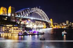 Sydney Harbour Bridge (Naomi Rahim (thanks for 2 million hits)) Tags: city longexposure travel bridge water architecture night boats lights nikon sydney australia nsw sydneyharbour sydneyharbourbridge travelphotography nikond7000