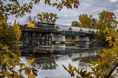 SCXY 1325 (crazytiger94) Tags: railroad trestle bridge lake fall minnesota yellow train river trainbridge northernpacific sd45 railroadtrestle stcroixvalley emd fallfoilage sd40m2 scxy emdsd45 landoftenthousandlakes