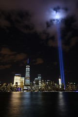 9-11 Tribute In Light 14 (Amaury Laporte) Tags: newyorkcity favorite usa newyork unitedstates 911 landmarks northamerica tributeinlight memorials september11memorial favorite2015