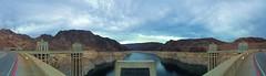Hoover Dam (Elisa Coello) Tags: road vegas blue arizona sky mountains water architecture clouds daylight colorado energy dam nevada border columns panoramic line huge