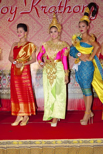 Contestants for the Miss Loy Krathong 2015 pageant at the Royal Orchid Sheraton by the Chao Phraya river in Bangkok, Thailand