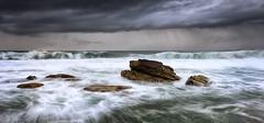 Precipitation (Crouchy69) Tags: ocean sea sky seascape storm motion beach water clouds sunrise landscape dawn coast rocks waves sydney australia turimetta