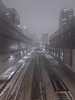 Railroad to the Inner City (Jovan Jimenez) Tags: rail road city train chicago canon eosm3 eos m3 efm 22mm night fog architecture building outdoor hdr panorama kolor autopanopro giga autopano mirrorless railroad