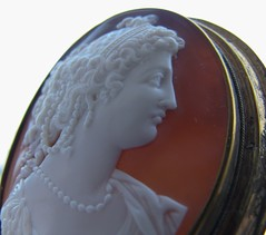Sardonyx Cameo (gift for a friend) (leaf whispers) Tags: cameo shell brown carved antique sardonyx agate stone old art carving handmade artisan folk brooch pendant necklace pin decorative jewelry victorian classical romantic woman girl female greek mythic myth sculpture backlit backlighting silhouette hair style historical costume dress