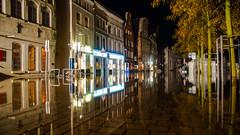 Hochwasser / Floodwaters (kornflakezzz) Tags: lübeck luebeck hochwasser floodwaters flood water reflektion reflections lights lichter spiegelung streets strase wasser sigma sony alpha a57 obertrave trave