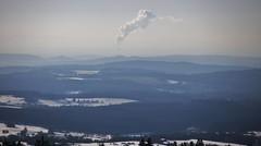 "View from the Hoherodskopf to the Powerstation ""Staudinger"" -  54 Kilometer"