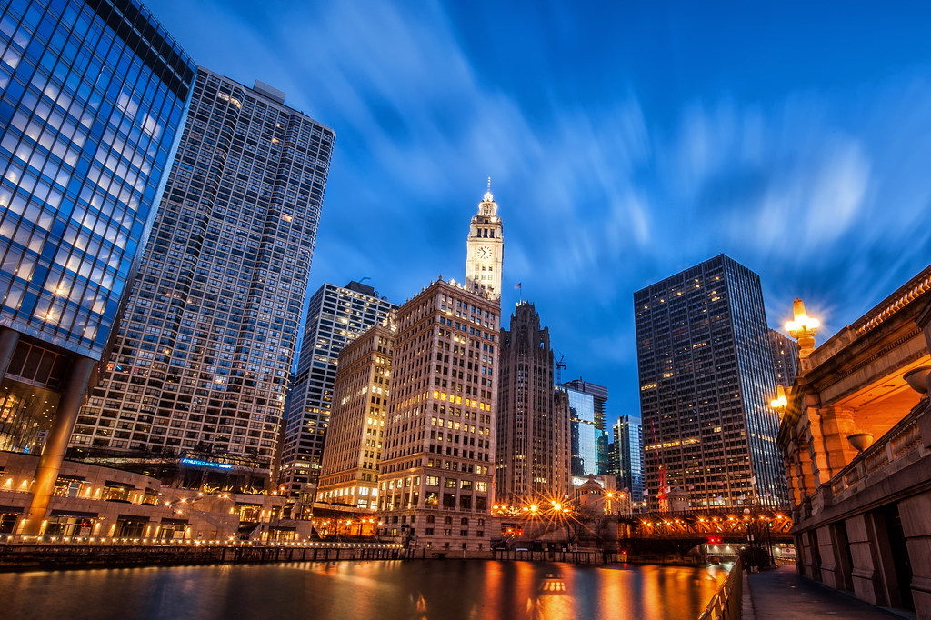 A view of the Wrigley Building and Tribune Tower from the Riverwalk.
