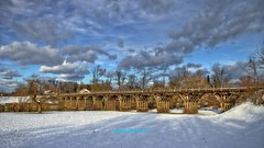 Wooden bridge (malioli) Tags: wooden bridge wood structure architecture construction sky clouds hdr snow nature weather karlovac river korana hrvatska europe croatia canon