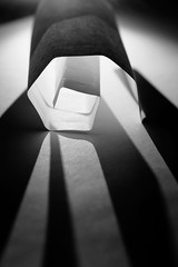 Geometric Light - Explored 1.17.2017 (Melissa_JMH) Tags: mono maze wow paper perspective nikkor light shadow shadows macromondays justwhitepaper white black monochrome dark twist roll rolled nikon d610 nikond610