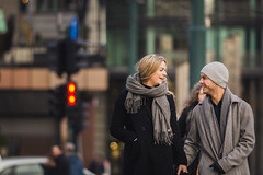 Here's Looking at You (haz_fenrir15) Tags: couple heres looking you 200mm f28l canon 60d norway scandinavia europe bokeh compression smile winter street photography oslo city life