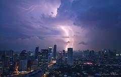 Double Lightning Strike (Sumarie Slabber) Tags: lightning philippines manila weather storm sumarieslabber city makaticity buildings clouds sky lights nikon 2016 double explore inexplore skyline