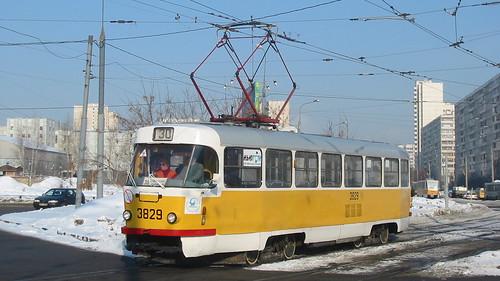 Moscow tram Tatra T3SU 3829