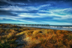 New Brighton Pier (Kevin_Jeffries) Tags: sea beach dunes pier new newbrighton landseaair blue light evening christchurch newzealand kevinjeffries nikon d7100 nikkor summer colorful weather february nature newzealandonflickr