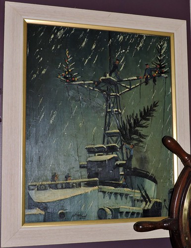 Painting of a destroyer at Christmas