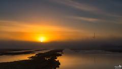 Sunrise, no horizon (BraCom (Bram)) Tags: bracom sunrise fog mist zonsopkomst reflection spiegeling hidden verstopt windturbine windmill windmolen naturearea sun zon water birds vogels natuurgebied herkingen paardengat goereeoverflakkee zuidholland nederland southholland netherlands holland canoneos5dmkiii widescreen canon 169 canonef24105mm bramvanbroekhoven nl