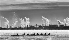 Industrial Energy (hey its k) Tags: cootesparadise fog hamilton mist people rowing industrial hfg blackandwhite img7180e hamiltonharbour