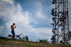 Bringval a cscson (hrvthmrk) Tags: summer sky mountain tower bike sport cycling hungary outdoor top hill budapest biking workout