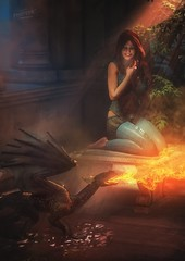His first flame (Mark Frost :)) Tags: morning light woman sun sunlight composite photomanipulation photoshop garden 3d cg candle dragon image render fantasy editing daz hatchling babydragon dazstudio