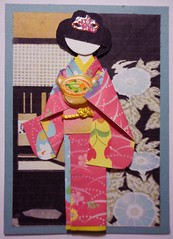 ATC1284 - Bringing a bowl of Japanese noodles (tengds) Tags: pink flowers blue black atc artisttradingcard asian japanese waves card kimono obi morningglory teahouse origamipaper artcard papercraft japanesepaper ningyo handmadecard chiyogami darkpink asiandoll bowlofnoodles japanesewoodblockprint japanesepaperdoll origamidoll kimonodoll tengds