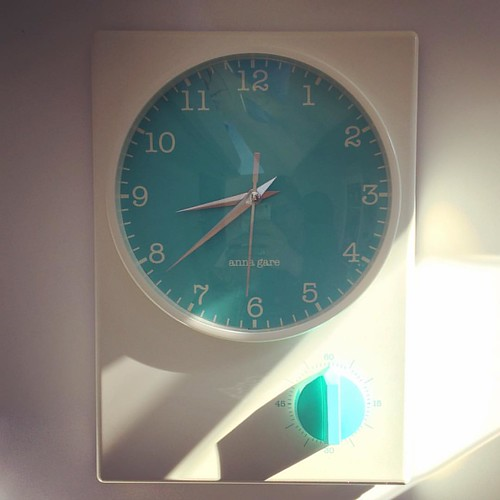 261/365 • I am in love with our new galley clock (with added timer!) • #261_2015 #clock #galley #kitchen #aquamarine #bling #15bucks #catamaran #ticktock #henriettas #leongatha  #sunbeam #Spring2015
