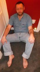 DSCF6696 (rugby#9) Tags: door feet wall shirt belt floor jeans barefoot barefeet levis blackbelt 501s denimshirt shortsleeveshirt levijeans levi501s 501jeans levi501 denimshortsleeveshirt