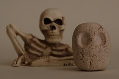 You never know when DEATH will be right behind you… (Craig Walkowicz) Tags: halloween skeleton toy death head fear clay end horror scare fright lump supernatural demise ccw