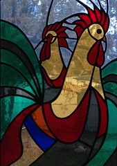 Cornflakes roosters in stained glass (iagoarchangel) Tags: colorado cereal stainedglass cornflakes grandjunction kellogs