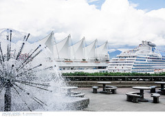 Cruise ship docked at Canada Place in Vancouver (Vincent Demers - vincentphoto.com) Tags: voyage city trip travel tourism fountain architecture publicspace vancouver boat ship bc britishcolumbia cruiseship traveling waterfountain bateau fontaine canadaplace ville tourisme cruiseboat croisire publicsquare navire travelphotography travelphoto bateaudecroisire traveldestination colombiebritannique photographiedevoyage espacepublic photodevoyage fontainedeau travellocation destinationvoyage