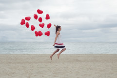 Wafting (SaraiDeza) Tags: ocean blue red sea woman beach water azul balloons hearts photography mar mujer rojo sand agua heaven horizon playa arena cielo float globos horizonte fotografa flotar ocano corazones revisar creativephotography conceptualphotography fotografacreativa fotografaconceptual