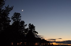 Lead Me Up to the Moon (amy20079) Tags: trees sunset moon silhouette clouds evening october maine newengland primarycolors crescentmoon richcolors nikond5100