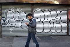 (a.tanski) Tags: street new york city nyc people ny bird photography graffiti manhattan pear giz iz kez