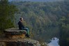 Another Break (imkaifilbey) Tags: morning trees sky orange mountains green fall water leaves rain yellow fog clouds sunrise reflections river hair beard early rocks sitting boots hiking seat coat foggy lookout hike steam hills marmot merrell harpeth