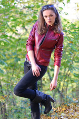 Lena 32 (The Booted Cat) Tags: sexy girl leather model boots jeans jacket tight
