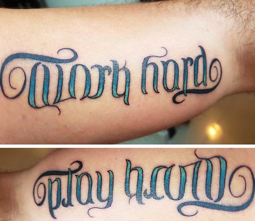 Work Hard Play Ambigram Tattoo