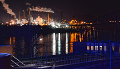 Industry at Night (brutus61534) Tags: industry steel factory mill plant night darkness smoke stacks river blue reflection lights january 2017