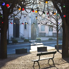 Jour de fête (Gerard Hermand) Tags: 1701216102 gerardhermand france paris canon eos5dmarkii formatcarré marneslacoquette place square arbre tree hiver winter banc bench guirlande lumineuse light string