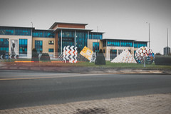Magic roundabout ~ 066/365 2017 (joriks) Tags: 2017 roundabout street car cars house building office sign signs pyramid ball round city urban trafic blury windows sky blue