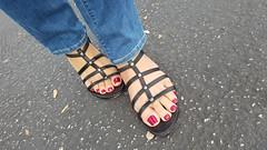Quinn (IPMT) Tags: toenail sexy toes polish foot feet pedicure painted toenails pedi zoya rojo red creme vermelho warm rich redberry purple undertones glossy crème finish slight gladiator sandal weitzman stuart quinn