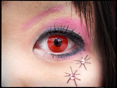 Catching-the-REDEYE (Danz in Tokyo) Tags: light red people white color eye face rose japan dark tokyo eyes shadows harajuku angkorsingle