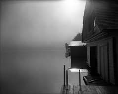 Boathouse-II (Buck Lewis) Tags: bw lake 120 film holga adirondacks boathouse thephotoholic