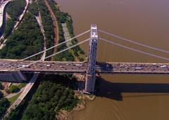 George Washington Bridge (seth_holladay) Tags: nyc newyorkcity cars river geotagged newjersey traffic manhattan nj bridges july 2006 rivers hudsonriver gothamist gwb georgewashingtonbridge helicopterride geotoolgmif geolat40849657 geolon73945541 manhattanwaterfrontgreenway