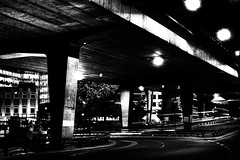 Westway (Simon Crubellier) Tags: uk longexposure england blackandwhite bw london westminster canon eos blackwhite europe nightshot motorway hdr westway flyover sincity eos20d simoncrubellier