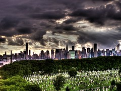 "NEW YORK CITY.....""PEOPLE ARE DYING TO VISIT"" (SkyShaper) Tags: new york city sky cemetery graveyard skyline dead tombstone dying skyshaper"
