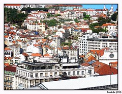Lisbon Paint By Numbers (brooksba) Tags: city red white portugal architecture buildings paint framed lisboa lisbon ps overlook crowded paintbynumbers