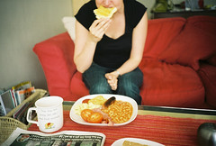 home made (lomokev) Tags: red food english breakfast paper bacon cafe beans lomo lca lomography tea egg jo lomolca sofa sausages bakedbeans fryup lomograph fullenglish breaky filecnv00023