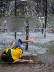 Nath takes a dive (Danny DeBekker) Tags: fountain germany stuttgart nath